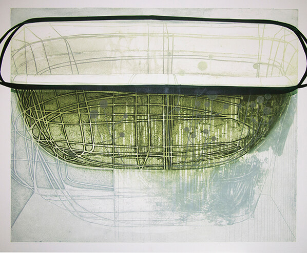 Katherine Jones, Rain Bowl, Collagraph and Block Print